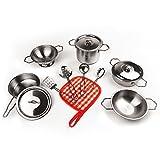 KIDAMI おままごとおもちゃ ステンレス製 13点セット クッキングセット キッチンセット 食器セット 料理人ままごと 料理おもちゃキッズ用調理器具セット