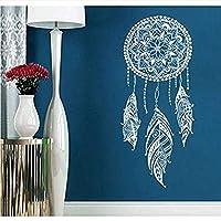 Hnzyfドリームキャッチャー壁飾り羽夜シンボルウォールステッカー家の寝室の装飾インド曼荼羅ボヘミアンデザイン壁画25×57cm