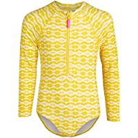 Limited Too Girls Long Sleeve One Piece Rash Guard Swimsuit with Front Zipper