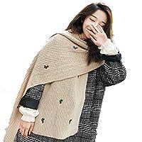 冬の韓国の学生野生のニット長い厚い暖かいインキュベーター小さな新鮮なウールのスカーフ女性ホワイトホワイト35 * 200 cm (Color : Beige, Size : 35*200cm)