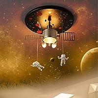 子供部屋の宇宙飛行士の天井ランプ、創造的な漫画衛星宇宙飛行士の寝室幼稚園装飾照明、40 * 21Cm