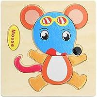 HuaQingPiJu-JP ブランドの新しい木製の教育的なパズルアーリーラーニング番号の形の色の動物のおもちゃキッズのための素晴らしいギフト(マウス)
