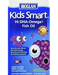 Bioglan Kids Smart Hi DHA-Omega3 Fish Oil, 500 mg, Berry Flavor, Chewable Burstlets, 30 ct. (Pack of 3) by Bioglan...