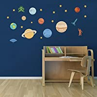 DecalMile Planets in the Space Wall Decals Solar System Kids Wall Stickers Peel and Stick Removable Vinyl Wall Art for Kids Bedroom Nursery Baby Room Classroom [並行輸入品]