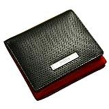 折り財布 パンチングレザー牛革 2つ折り 財布 メンズ:wallet-ga-3157595 (ブラック/レッド)