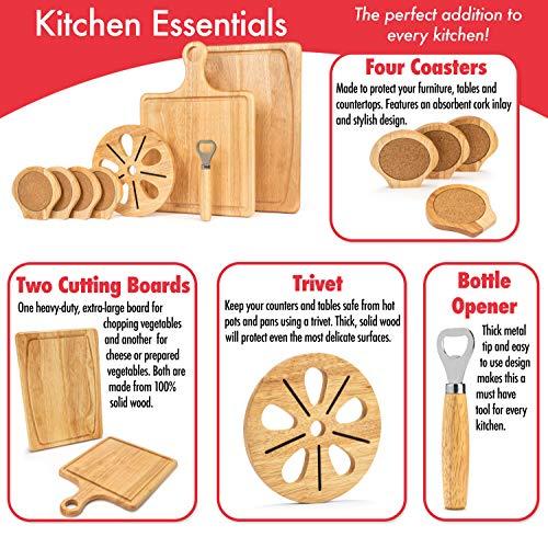 『Best Kitchen Essentials まな板 厚手木製ブロック チョッピングカービングボード 1台 竹製チーズボードオーガナイザー 木製コースター4枚 栓抜き1つ 大型マット1つ 鍋つかみギフトセット』の4枚目の画像