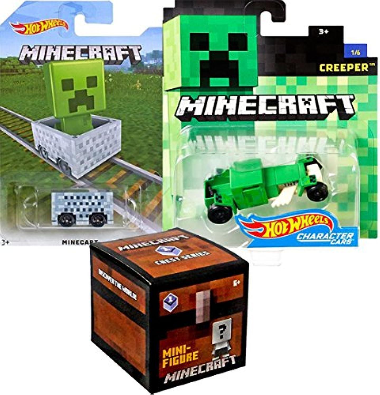 MinecraftホットWheelsクリーパーホットロッドCharacter Car + Minecart ride-onキューブボックス車+ Minecraftシリーズ木製チェストブラインドボックスMystery Mini Figureバンドル