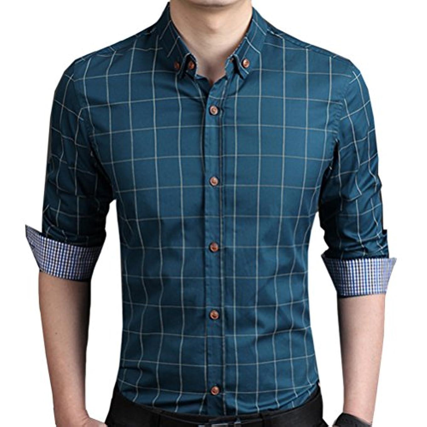 アラスカ地域茎輝姫 ブラウス  チェック柄  折り袖 長袖  ボタン  メンズ  シャツ カジュアル  ビジネス  スリム ファッション (XL, ダークブルー)