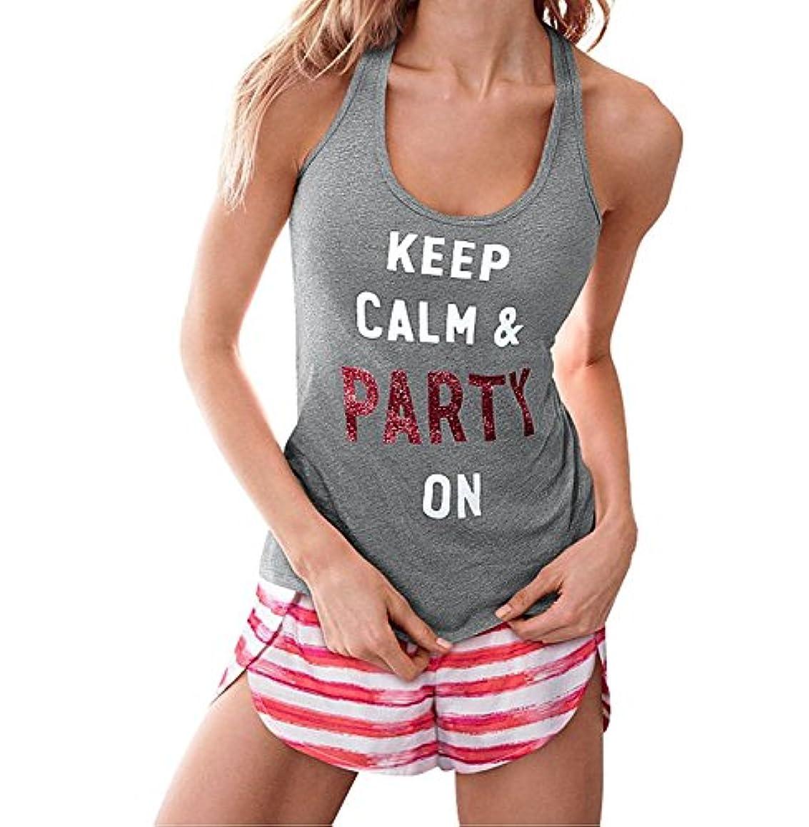 最高和らげるペインティングVictoria's Secret Women's Gray Keep Calm & Party Tank Top Sleep Small [並行輸入品]
