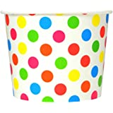 Rainbow Paper Ice Cream Cups - 12 oz Polka Dotty Dessert Bowls -Perfect for Your Yummy Foods! Many Colors & Sizes - Frozen De