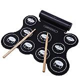CAHAYA ポータブル 電子ドラム スピーカー内蔵 充電式 9パッド 五種類のドラム音色組 メトロノーム機能 外部音源入力可能 ペダル スティック付き 練習用ドラム 楽器 初心者 入門用