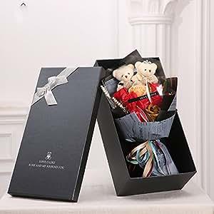 MINENA ソープフラワー 石鹸 花 バラ 造花 花束 二つクマの人形が付き 父の日 誕生日 結婚祝い 結婚記念日のプレゼントにお勧め (レッド)