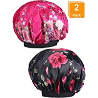 Blulu 2 Pieces Wide Band Satin Cap Sleep Bonnet Soft Night Sleep Hat for Women and Girls (black and rose red)