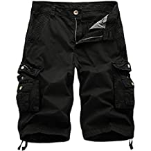chouyatou Men's Active Normal Waist Loose Multi-Pocket Versatile Twill Cargo Shorts