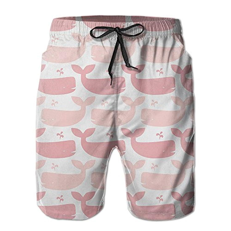 メンズ ビーチショーツ 水着 ピンク鯨 ショートパンツ サーフトランクス スイムショーツ インナーメッシュ付き 通気 速乾