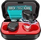 【令和2019最新版Bluetooth5.0 LEDディスプレイ電量表示】Bluetooth イヤホン ノイズキャンセリング HI-FI高音質 3Dステレオサウンド 完全ワイヤレス 自動ペアリング 高感度マイク内蔵 両耳通話 左右分離型 ブルートゥース イヤホン 落下防止 タッチ式 自動ON/OFF iPhone & Android対応
