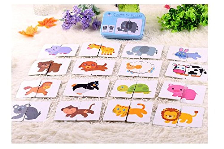 児童の幼児教育啓蒙動物文字英語認知カード片引き裂いなりの識字カード乳幼児知育玩具カップルのパズルは、鉄箱包装 (動物)