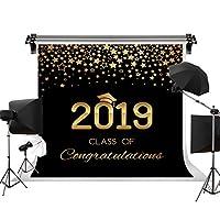 Kate 2.2×1.5m 2019年卒業シーズンの背景 輝く星空の背景 金色の星の背景 学士帽子の背景 黒と金の背景の装飾 キャンパス卒業式の背景 子供の写真撮影 装飾用 無反射布 撮影用背景布 背景紙 カスタマイズ可能様々な背景