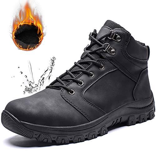[Visionreast] スノーブーツ メンズ 防水 防寒 防滑 アウトドアシューズ 裏起毛 通勤 通学 防寒靴 大きいサイズ レインシューズ カジュアル ビジネス ブーツ 綿靴 滑り止め 雪靴 ブラック 25.0cm