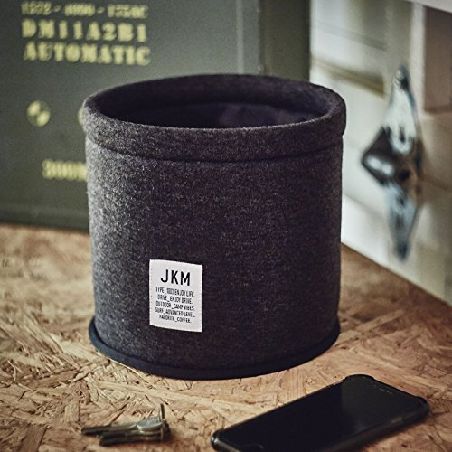JKM 車用 ゴミ箱 ダストボックス 布 大容量タイプ (径19×高さ18cm) 固定用マジックテープ付 車内 小物入れ 整理ボックス 収納ボックス としても使える マルチボックス ダークグレー アーミーテイスト