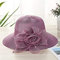 Women's Visor Fashion Beach hat one Generation Summer New lace Flower hat Fashion Korean Straw hat (Color : Purple)