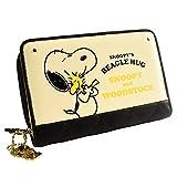 [スヌーピー] SNOOPY 財布 二つ折り財布 レディース ラウンドファスナー プリント ウッドストック かわいい キルティング カード入れ 小銭入れあり 女性用 (ブラック)