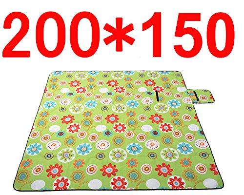 MANATSULIFE レジャーシート 大人2-6人用 折りたたみ・持ち手付き200X150((丸柄)グリーン)