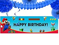 Super Mario Bros Party Supplies - Birthday Party Banner Decoration Kit [並行輸入品]