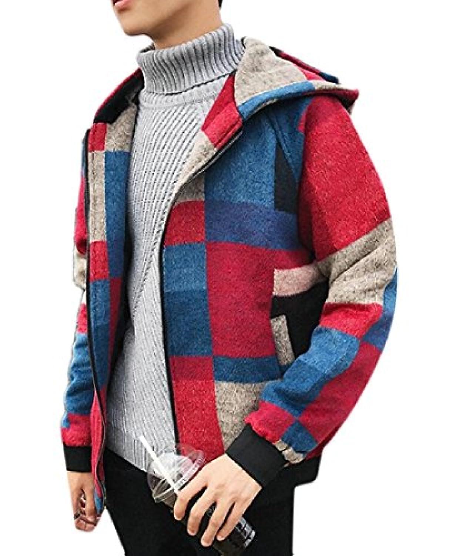Fly Year-JP ファッションカラー長袖フード付きジャケットコートサイズのジッパーの上の縫い目のメンズ