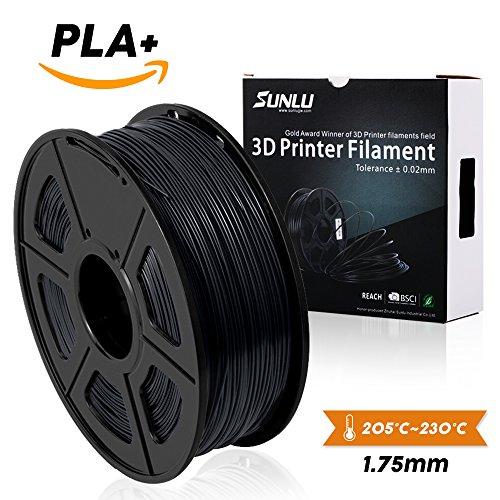 SUNLU 3DプリンタフィラメントPLAプラスグレーブラック、PLAプラスフィラメント1.75 mm、低臭気寸法精度+/- 0.02 mm、3D印刷フィラメント、3Dプリンタおよび3Dペン用LBS(1KG)スプール、グレーブラック