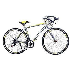 SHINEWOOD(シャインウッド) 自転車 700C ロードバイク 軽量 シマノ21段変速 (グレー&イエロー) フレームバッグ付