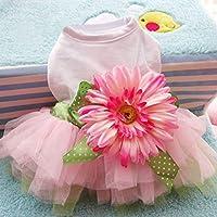 Spring Summer Pet Dog Dress Clothes With Big Sunflower Cute Princess Skirt Wedding Ball Gown Party Dress Pet Supplies