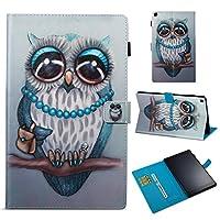 Amazon Fire HD 10 2017 シェル,[ 衝撃 吸収 ] シェル PU レザー 立つ 財布 カバー 耐久性のある フリップ シェル の Amazon Fire HD 10 2017 Grey Owl