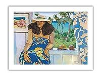 ラニカイスタジオ - ハワイの女性の肖像画 - ペイントされた元の色からのものです によって作成された スーザン・マッゴブニー・ハンセン - アートポスター - 46cm x 61cm