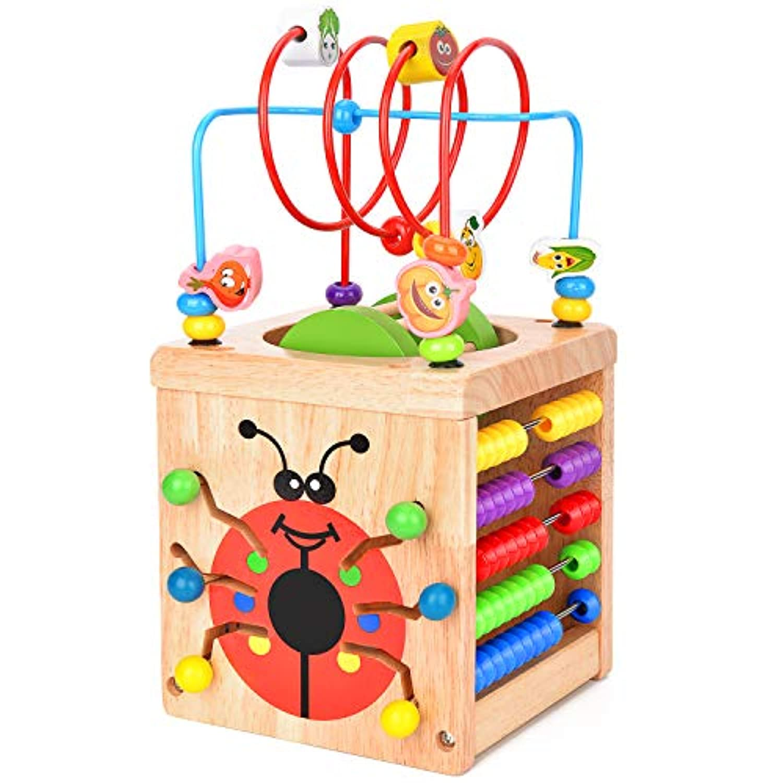 ビーズコースター 知育 玩具 BATTOP ルーピング おもちゃ アクティビティキューブ 子ども 木製 マルチプレイセット