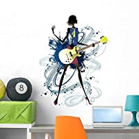 Wallmonkeys Young Woman Holding Guitar Wall Decal Peel and Stick Graphic WM51939 (36 in H x 26 in W) [並行輸入品]