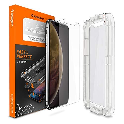 【Spigen】 iPhone XS ガラスフィルム/iPhone X ガラスフィルム 【貼り付けキット付き】 5.8インチ 用 薄さ0.4mm 強化ガラス 液晶保護フィルム 高透過率 液晶パネル 保護 3D Touch Face ID 対応 063GL24823 (Glas.tR EZ Fit (1枚入))
