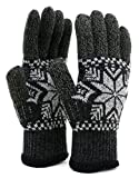 (ジーンズショップ マルカワ) Jeans shop MARUKAWA 手袋 メンズ スマホ対応 スマートフォン対応 ニット 雪 柄 2color Free ブラック