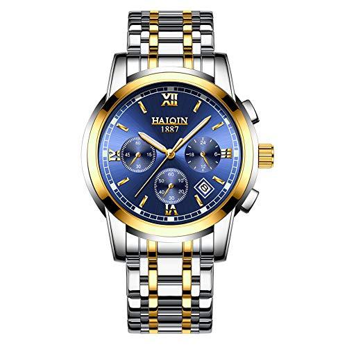 a3911c630c HAIQIN メンズアナログクォーツ腕時計 防水スポーツ腕時計 クロノグラフ ステンレススチール ドレスビジネスウォッチ メンズ
