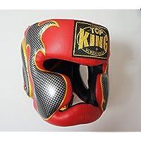 トップキング TOP KING キックボクシング ヘッドギア タトゥ 赤銀 Mサイズ