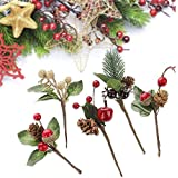 UWIOFF 20PCS Artificial Berry Picks, Christmas Pine Picks with Red Berries and Pine Cones for Christmas DIY Crafts Gift Wrapping Flower Arrangements Wreaths Holiday Floral Picks Christmas Decorations