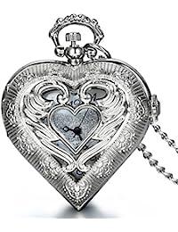 JewelryWe 大切な人や,彼氏?彼女へのプレゼント:懐中時計アンティーク風 ペンダント ウォッチ ポケットウォッチ,ハート型,合金,クリスマス バレンタイン プレゼント