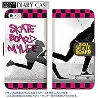 chatte noir Galaxy S6 edge ケース Galaxy S6 edge カバー ギャラクシー S6 edge ケース 手帳型 SK8 スケボー チェック柄 ストリート B 手帳ケース SUMSUNG