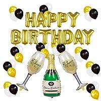 誕生日 飾り付け セット 風船 気球 フォイルバルーン 誕生日パーティーデコレーション ハッピーバースデーバナー シャンパンボトルゴブレット 誕生日パーティー用品 1セット37個入りclear sky