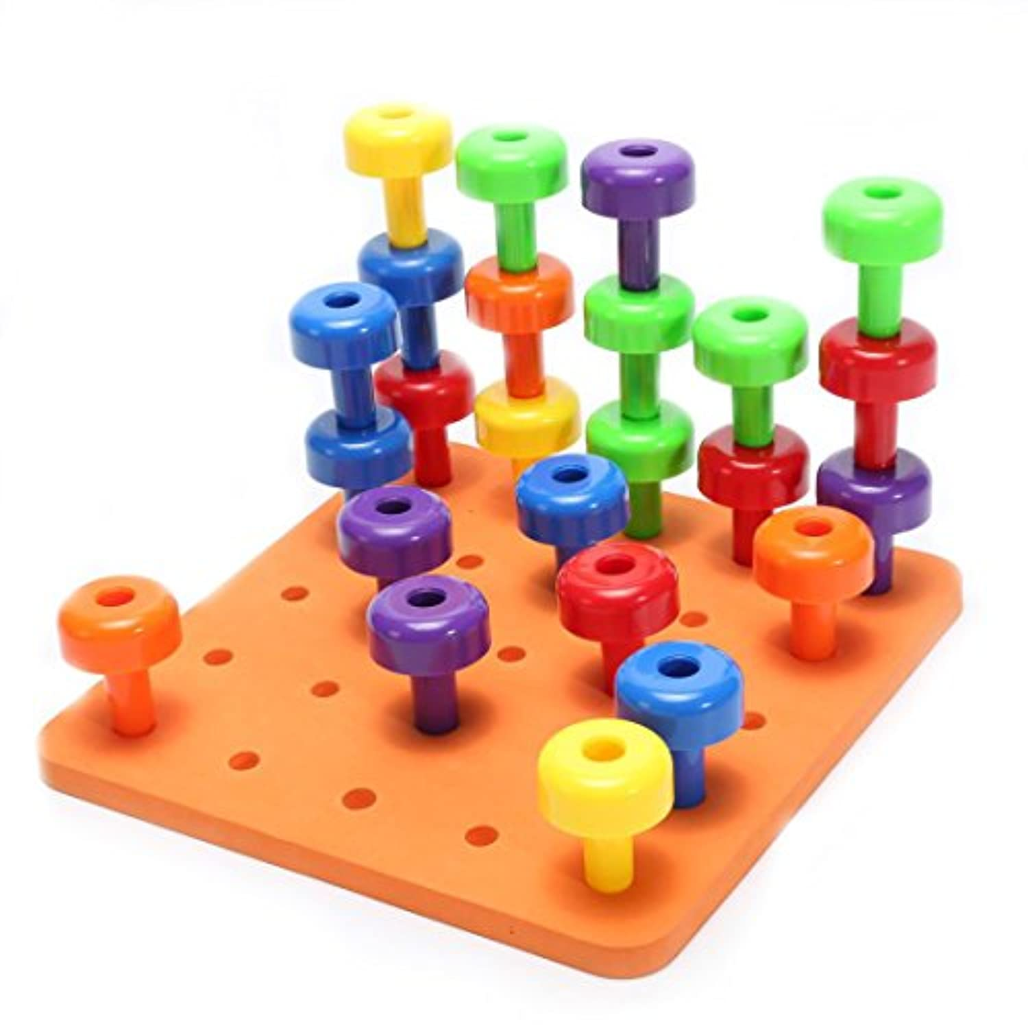 E-SCENERY 30Pcs Peg Board Set Activity Pegboard Motor Skills Toy for Toddlers and Preschoolers 30 Pegs in Board for Colour Recognition Sorting Counting