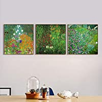 """INVIN ART Combo Painting 3 Pieces Framed Canvas Giclee Print Art Series#8 by Gustav Klimt Wall Art Living Room Home Office Decorations(PS Wood Color Slim Frame,28""""x28"""")"""