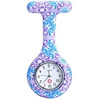 Top Plaza Women's Girls' Fashion Floral Nurse Clip-on Fob Brooch Silicone Jelly Hanging Pocket Watch (Blue Purple Flower)