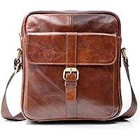 "Premium Leather Crossbody Bags for Men - 9.7"" iPad Pocket, Heavy-Duty Travel Shoulder Bag - Mens Cross Body Messenger Satchel Boasts Brass Hardware, Superior Small Stitching, Better Than YKK Zippers"
