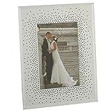 ジュリアナ ウェディング フォトフレーム スターバーストクリスタル付き 写真立て インテリア 雑貨 (5 x 7インチ) (ホワイト/シルバー)
