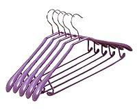 10パックアンチスリッププラスチック+金属服のハンガーアダルトスーツ/パンツプラスチックハンガー、#21紫